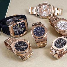 Few of my favourite rose gold #watches which is your favourite? 305-377-3335 info@diamondclubmiami.com #rolex #daydate2 #aproyaloak #patekphilippe #rolexskydweller #patek #pateknautilus #patek5980r #audimarspiguet #watchesofinstagram #miami #watchporn #watchaddict @a_jewellers