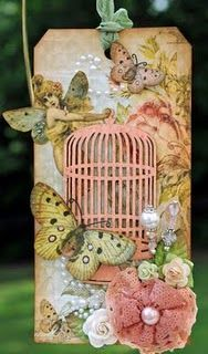 """""""Mischievous Fairy"""" tag by Susan @ Killam Creative. Vintage Tags, Card Tags, Gift Tags, Handmade Tags, Butterfly Cards, Pink Butterfly, Butterflies, Marianne Design, Paper Tags"""