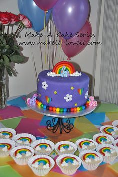 ...idea of the week...rainbow tinted cake, with a rainbow, flowers, my little pony?? Hope she decides at least 2 days before her bday....