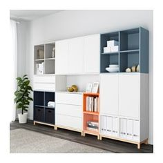 EKET Storage combination with legs - white/light gray/dark gray - IKEA Home Living Room, Living Room Furniture, Living Room Designs, Home Furniture, Furniture Stores, Luxury Furniture, Ikea Eket, Ikea Inspiration, Muebles Living