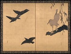 Three Crows in Flight; Two Egrets at Rest Shibata Zeshin (Japanese, 1807–1891) Period: Meiji period (1868–1912) Date: late 19th century Culture: Japan Medium: Free-standing screen (tsuitate) remounted as a two-panel folding screen; colored lacquer and white pigment on gold leaf