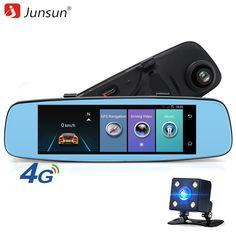 "Junsun A880 ADAS Car DVR Detector 4G Camera Video Recorder 7.86"" Mirror Android 5.1 With Two Camera Dash Cam Registrar Black Box"