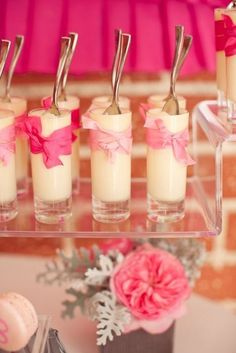Buffet dulce postre en vaso alto lazo rosa pink party Ribbons and Ruffles Baby Shower – Part 2 {Desserts} By Hostess With the Mostess Dessert Shots, Shot Glass Desserts, Mini Desserts, Dessert Cups, Wedding Desserts, Dessert Glasses, Individual Desserts, Bridal Shower Treats, Bridal Showers