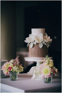 Wood/Bark textured cake with flowers and lace - rustic and elegant wedding cake