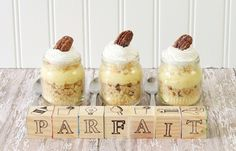 baby shower parfaits in baby food jars by Celebrations At Home (Erin would love this....if they were in mason jars....)