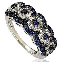 Sapphire and Diamond in Sterling Silver and 18K Multi-Circle Gold Designer…