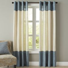 Blythe Colorblock Curtain - Smokey Blue - Pier One