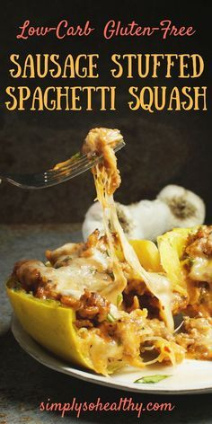 This recipe for Sausage Stuffed Spaghetti Squash takes low-carb pasta to a new level! This delicious recipe works for low-carb, keto, gluten-free, grain-free, diabetic, or Banting diets.