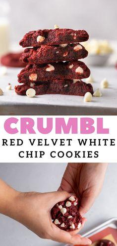 White Chocolate Chip Cookies, Chocolate Desserts, Red Velvet Cookies, Chocolate Morsels, Cookie Recipes, Baking Recipes, Dessert Recipes, Chip Cookie Recipe, Yummy Treats