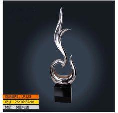 Modern glass and steel sculpture sapling shape floor decoration resin craft