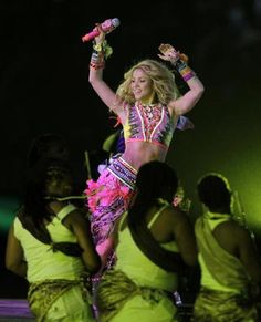 Colombian pop star Shakira performs during the closing ceremony ahead of the World Cup final soccer match between the Netherlands and Spain at Soccer City in Johannesburg on Sunday.