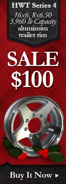 15x6 ION 14 Black Aluminum Trailer Wheel 5x4.5 Lug 2600 lb Capacity