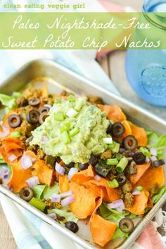 Paleo Nightshade-Free Sweet Potato Chip Nachos {Gluten-Free, Grain-Free, Dairy-Free} | cleaneatingveggiegirl.com
