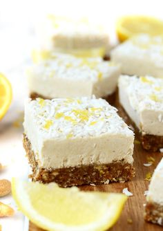 These raw Lemon Coconut Cheesecake Bars are naturally sweetened, gluten-free, vegan, paleo, and a perfectly refreshing dessert!
