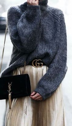 trendy outfit / grey sweater + bag + midi skirt