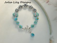 Millefiori Flower Glass Beaded Bracelet with by julialilydesigns, $10.00