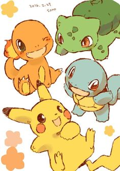 Pikachu, Bulbasaur, Charmender and Squirtle