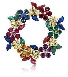 Akianna Gold-tone Swarovski Element Crystals Wreath Pin Brooch Christmas Multicolor - http://christmasportal.org/akianna-gold-tone-swarovski-element-crystals-wreath-pin-brooch-christmas-multicolor/