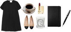 Essentials: LBD, ballet flats, red lips, moleskine