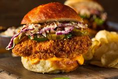 Spicy Buttermilk Fried Chicken Sandwich Might Be the Best Sandwich Ever – Maybe it's because we're hungry or maybe it's because we love Nashville hot chicken, but either way– this spicy buttermilk… Buttermilk Fried Chicken Sandwich Recipe, Fried Chicken Burger, Air Fryer Fried Chicken, Spicy Chicken Sandwiches, Spicy Fried Chicken, Chicken Sandwich Recipes, Buttermilk Chicken, Fried Chicken Recipes, Fried Catfish