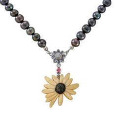 Mother of Pearl Sunflower Design Shell Natural Saltwater Black Pearl Chain Pendant Necklace Mother Of Pearl Necklace, Pearl Bracelet, Hanging Paintings, Sunflower Necklace, Sunflower Design, Pearl Chain, Make A Gift, Beading Supplies, Chain Pendants