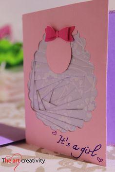 Biglietto nascita bambina. #nascita #card #bavaglino #Irishfolding #paper #pink #white #auguri #it'sagirl #intagliocarta
