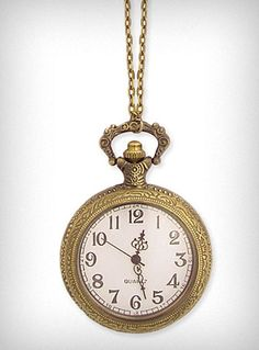 Apothecary Pocket Watch Necklace -- I love clocks. Especially golden ones.