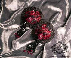 Garnet silk pasties with lace overlay and shimmering lace trim. Handmade crystal beaded tassels and a spray of rhinestones embellish this lovely pair. Lace Overlay, Lace Trim, Garnet Silk, Toronto, Custom Corsets, Crystal Beads, Crystals, Red Herring, Burlesque Costumes