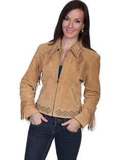 Scully Leather Studded And Fringed Jacket - Old Rust