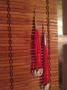 Red Shell Road - many loops - seed bead and shell - long - dangle - beaded - earrings - traditional