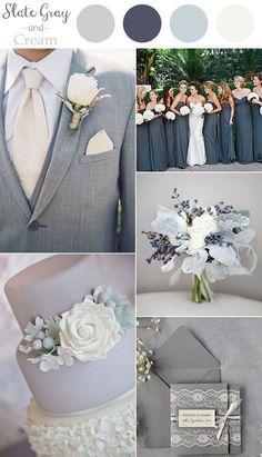 2016 trending slate gray and cream neutral wedding color ideas autumn wedding colors / wedding in fall / fall wedding color ideas / fall wedding party / april wedding ideas Wedding Goals, Wedding Themes, Wedding Styles, Our Wedding, Dream Wedding, Wedding Decorations, Slate Wedding, 2017 Wedding, Elegant Wedding