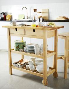 FÖRHÖJA roltafel | IKEA IKEAnl IKEAnederland tafel werkbank keuken eten drinken servies hout berken inspiratie