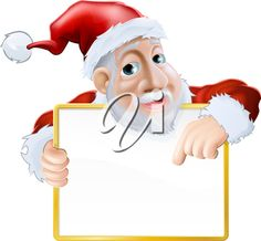 An illustration of a happy cartoon Santa holding a sign and pointing at the message