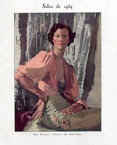 Portrait of Mrs Harold Taylor 1934 by Doris Zinkeisen (Scottish 1898 – 1991)