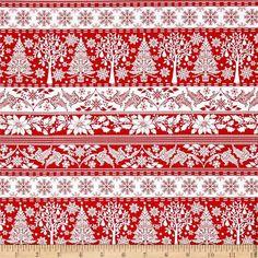 """Новогодняя ткань """"Зима красный"""" для тильды, пэчворка"""