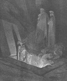 At the Sixth Circle of Hell, Dante and Virgil see heretics who are condemned to eternity in flaming tombs. Dante talks with a couple of Florentines – Farinata degli Uberti and Cavalcante de' Cavalcanti – but he also sees other notable historical figures including the ancient Greek philosopher Epicurus, Holy Roman Emperor Frederick II and Pope Anastasius II.