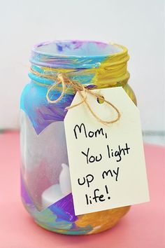 Easy and Thoughtful Mother's Day Crafts the Kids Can DIY A DIY mason jar votive is a Mother's Day gift kids can help create and Mom will love. A DIY mason jar votive is a Mother's Day gift kids can help create and Mom will love. Diy Gifts For Mothers, Mothers Day Crafts For Kids, Mothers Day Cards, Mother Day Gifts, Gifts For Kids, Mothers Day Presents, Diy Gifts Mom, Gift For Mother, Diy Christmas Gifts For Mom From Daughter
