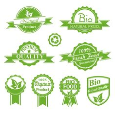 Natural green label vector graphics