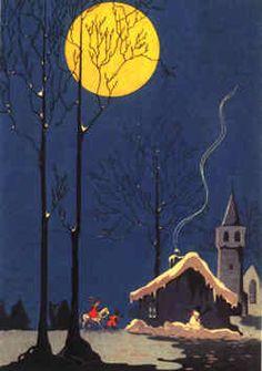 Vintage illustration of a Dutch tradition Vintage Christmas Images, Old Fashioned Christmas, Christmas Past, Retro Christmas, Vintage Holiday, Christmas Greetings, Vintage Images, Christmas Christmas, Illustration Noel