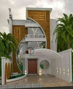 Interesting for buildings without side facades house front design, modern house design, modern house