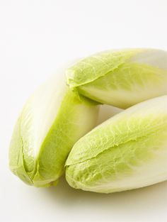 Belgian Endive Chicory family green. Cylindrical tapered yellow and white spears with a crisp bite. Mild tasting green with slightly bitter bite. #ItalianDressingSalad