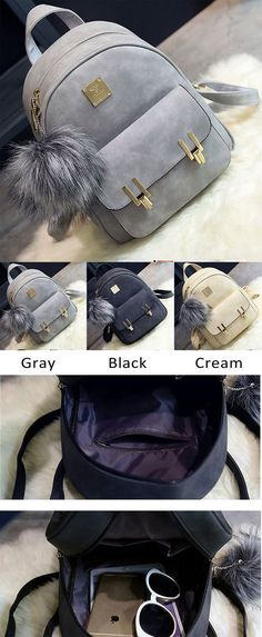 278a11a9d070 Fashion Frosted PU Zippered School Bag With Metal Lock Match Backpack for  big sale !