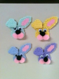 Easter Bunny Magnets Needlepoint Plastic  - not a pattern just a idea