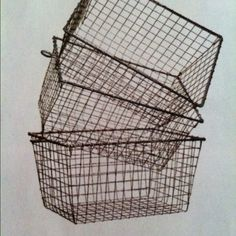 Rustic wire baskets: these make wonderful storage containers.  I just got a few at a flea market.