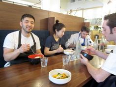 Growing up, PiDGiN chef Makoto Ono (left, beside pastry chef Amanda Cheng) learned from his restaurateur parents how to treat staff.