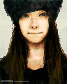 たえ -  女の子 帽子 顔 (Portrait of a girl with a hat by Tae)