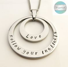 Personalised Jewellery, Personalised Necklace, Family Necklace, Hand Stamped Two Circle Silver Names Necklace, Family Necklace, Name Necklace, Washer Necklace, Love W, Love Stamps, New Mums, Hand Stamped Jewelry, Felt Hearts, Gifts For Mum