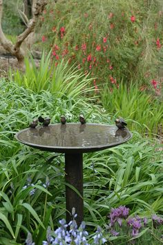Country garden decor – Bird bath garden – Bird garden – Garden ornaments – W… - Modern Garden Inspiration, Garden Features, Country Garden Decor, Country Gardening, Garden Decor, Metal Bird Bath, Garden Ornaments, Garden Fountains, Bird Bath Garden