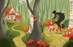 Storytime's Little Red Riding Hood wrap around cover is a treat! Lovely colours in the forest and an amazing wolf by Christelle Galloux.