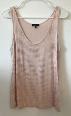 Womens Medium EXPRESS Pink Tank Top Gold Beaded Shirt Studded Rayon Spandex M #Express #TankCami